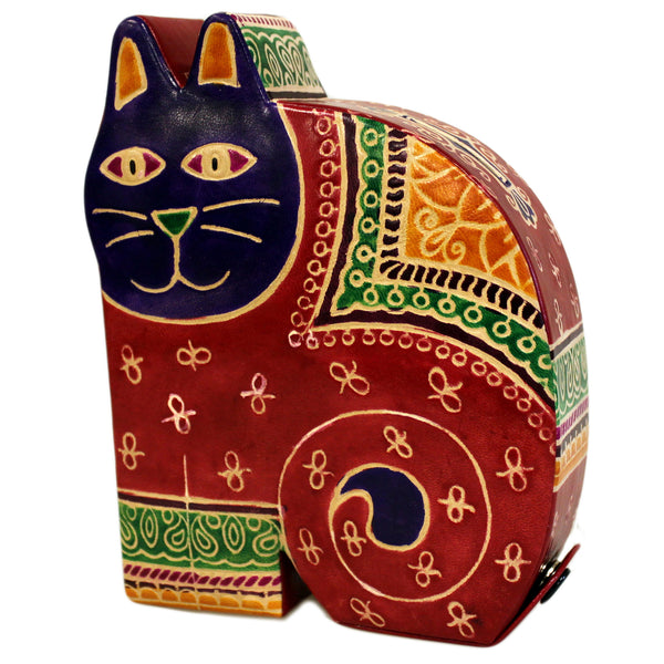 image of leather money box lrg red cat