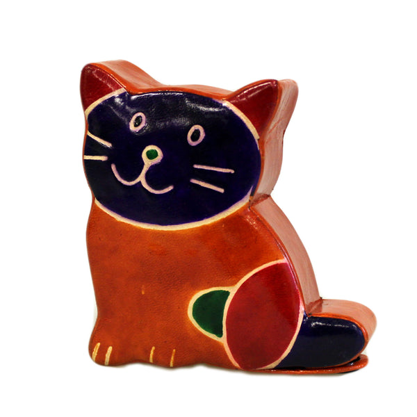 image of leather money box small brown cat