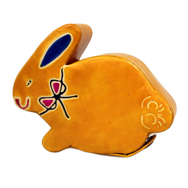 image of leather money box sml yellow bunny