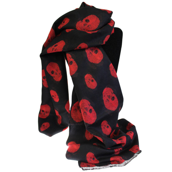 image of unisex rich kid skull scarf black red
