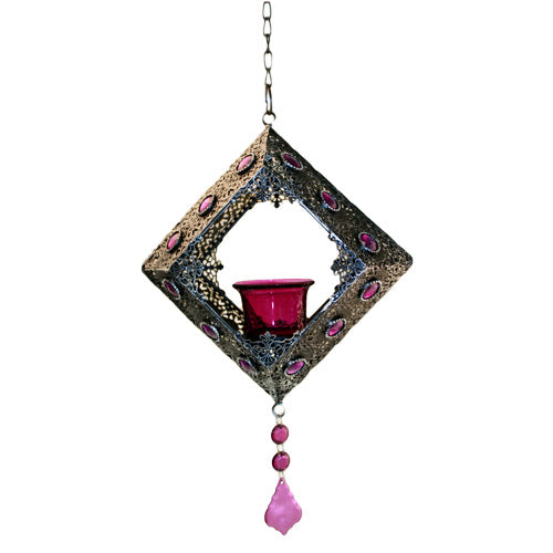 image of moorish single hanging square candle holder