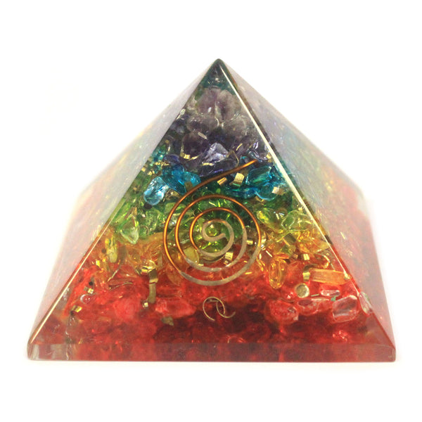 image of lrg orgonite pyramid 70mm chakra gemchips