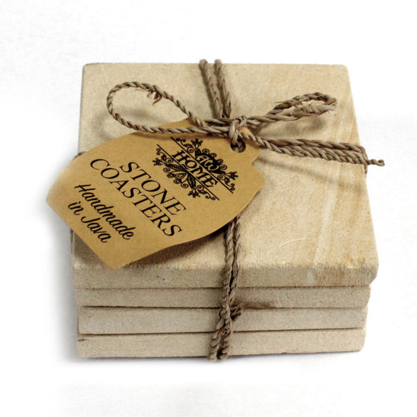 image of set of 4 stone coasters square simple sandstone 9cm