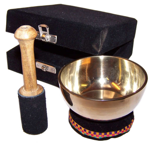 image of brass singing bowl gift set approx 9cm