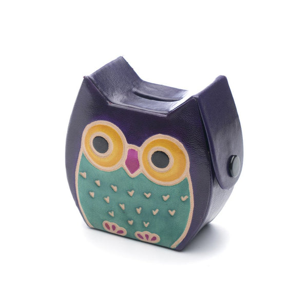 Leather Owl Coin Bank