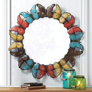 Multi-color Butterfly Border Metal Wall Mirror