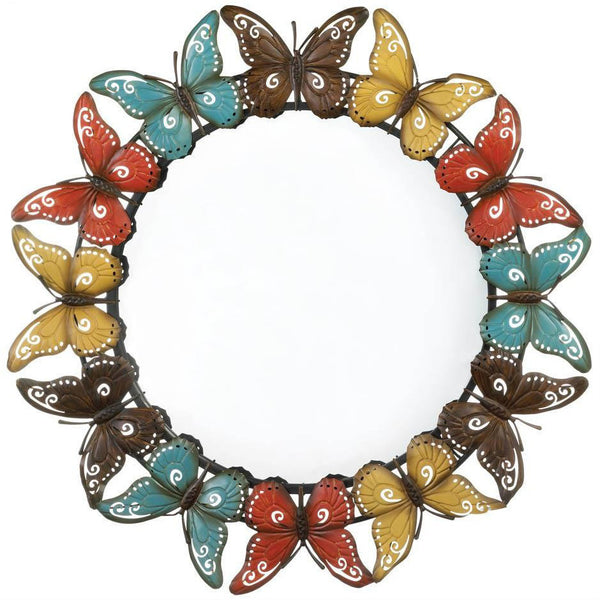 Butterfly Border Metal Wall Mirror