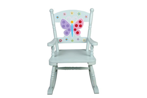 White Butterfly Garden Rocking Chair