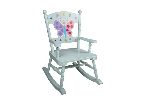 Butterfly Garden White Rocking Chair