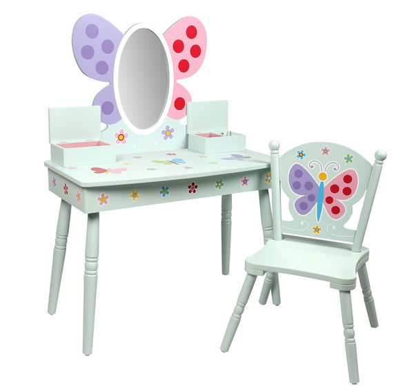 Butterfly Garden Kids Vanity Table and Chair Set