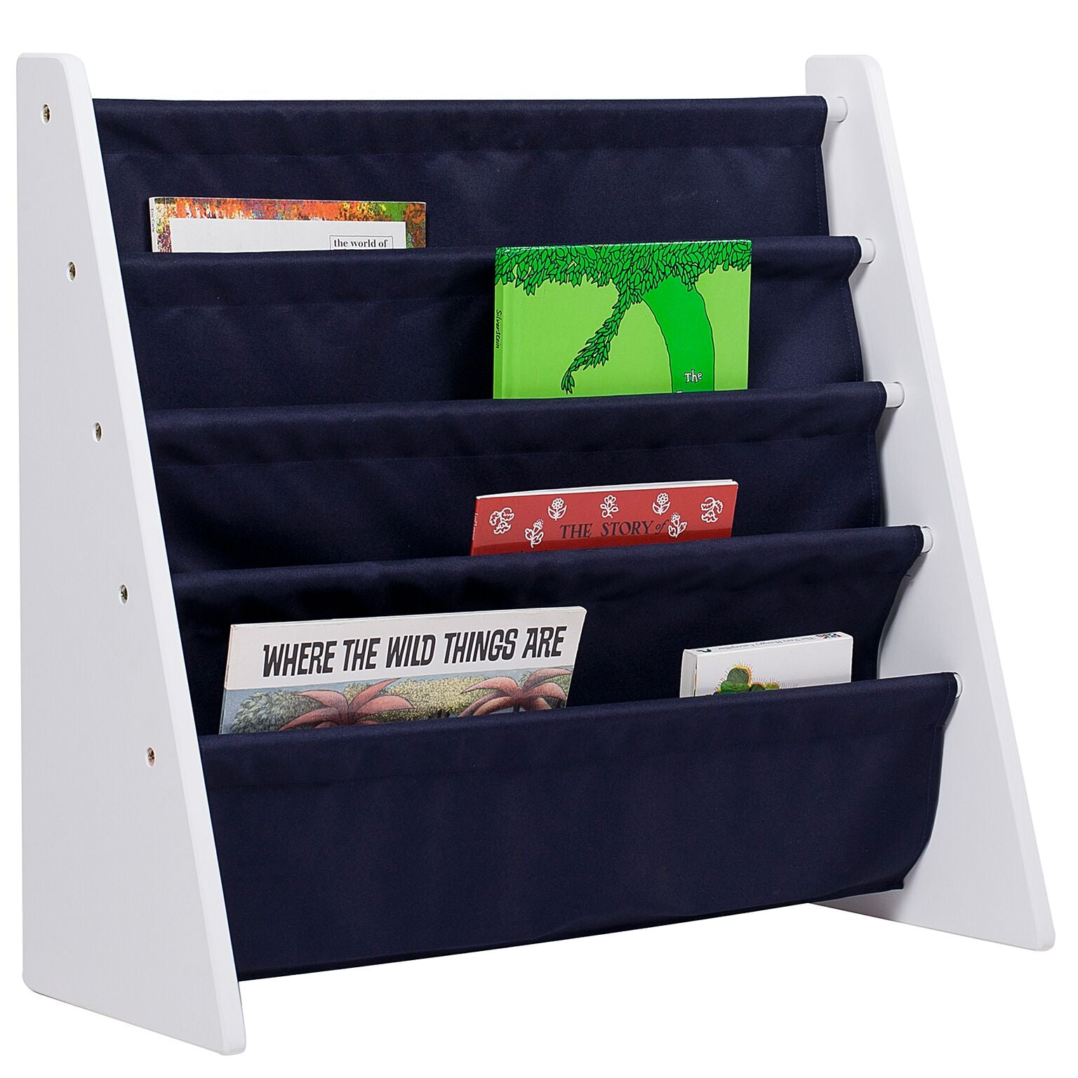 Classic Blue Sling Bookcase - White