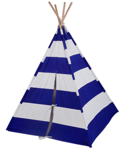 Classic Stripped Kids Teepee - Blue and White