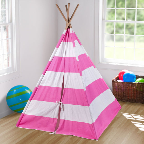 Pink and White Classic Stripped Kids Teepee