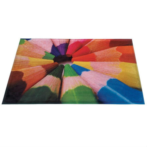 Bright Colored Pencils Floor Mat