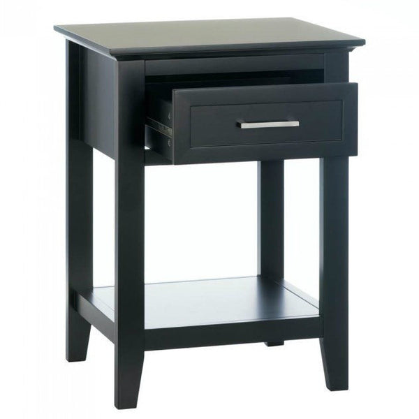 Crosstown Traditional Black Wood Side Table