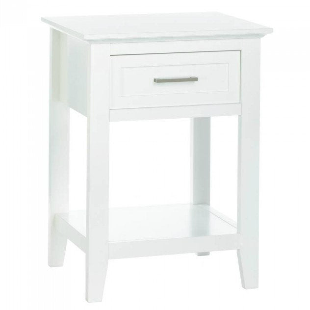 White Crosstown Traditional Wood Side Table