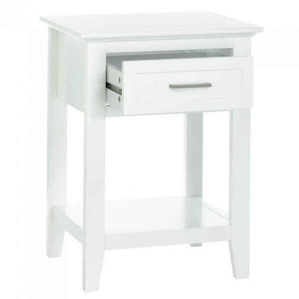 Crosstown Traditional Wood Side Table - White