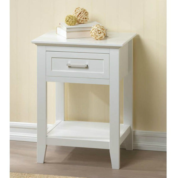 Crosstown Traditional White Wood Side Table