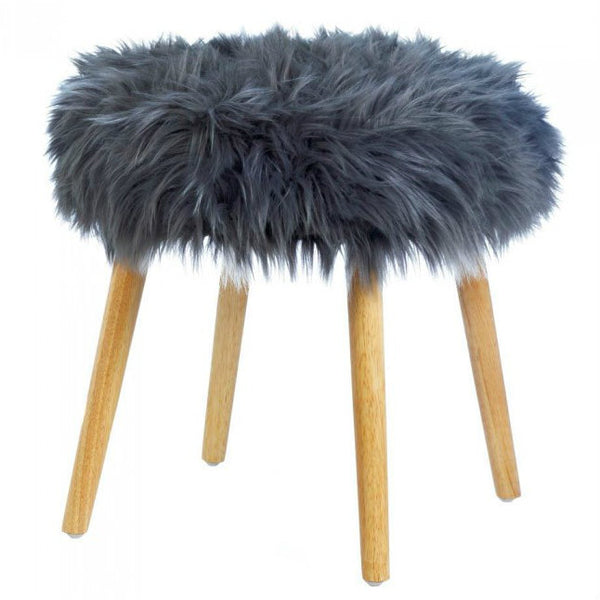 Gray Faux Fur Foot Stool