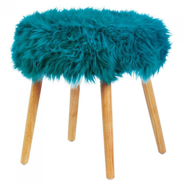 Turquoise Faux Fur Foot Stool