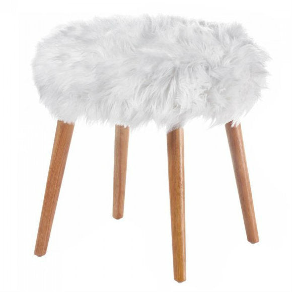 White Faux Fur Foot Stool