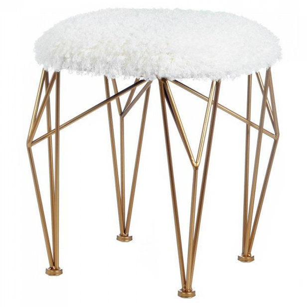 Geometric Stool with White Faux Fur