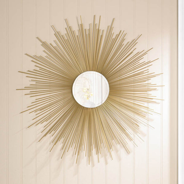 32 inch Golden Sunburst Wall Mirror