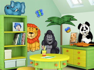 Jungle Animals 3D Wall Mural Set