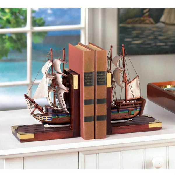 Model Ship Bookends