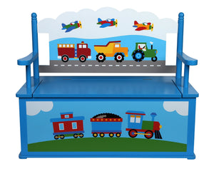 Trains, Planes, Trucks Bench Seat with Storage