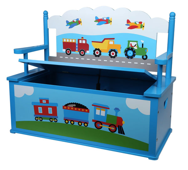Trains, Planes, Trucks Blue Bench Seat with Storage