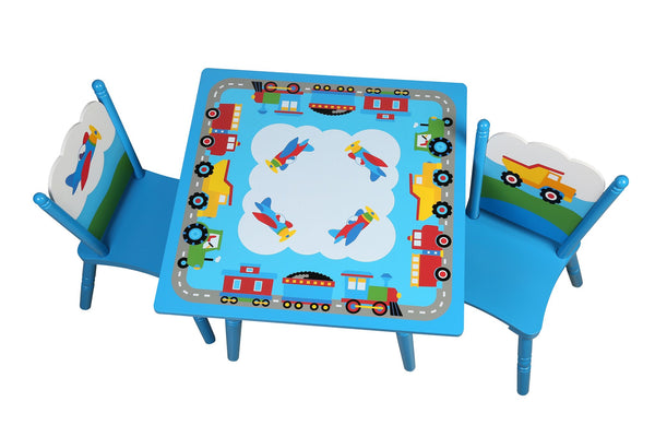 Trains, Planes, Trucks Blue Table and Chairs Set