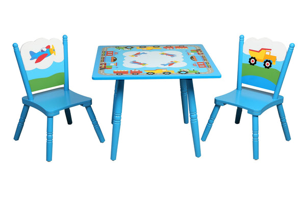 Trains, Planes, Trucks Table and Chairs Set
