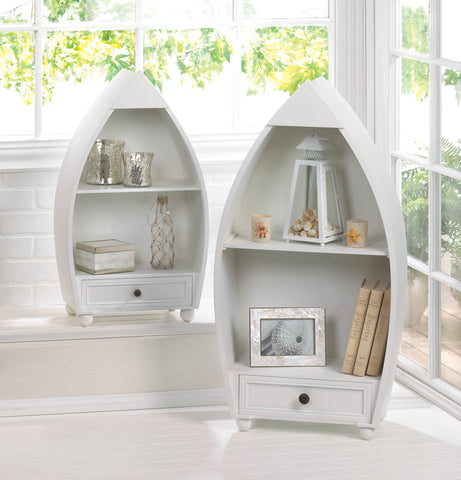 White Wood Rowboat Shelf Set
