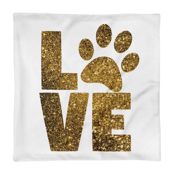 "Love Paw Print Square Pillow Cover only (18""x18"")"