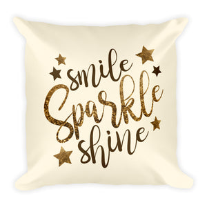 "Smile Sparkle Shine Square Throw Pillow - Cream (18""x18"")"
