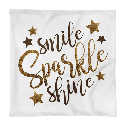 "Smile Sparkle Shine Square Pillow Cover only - White (18""x18"")"