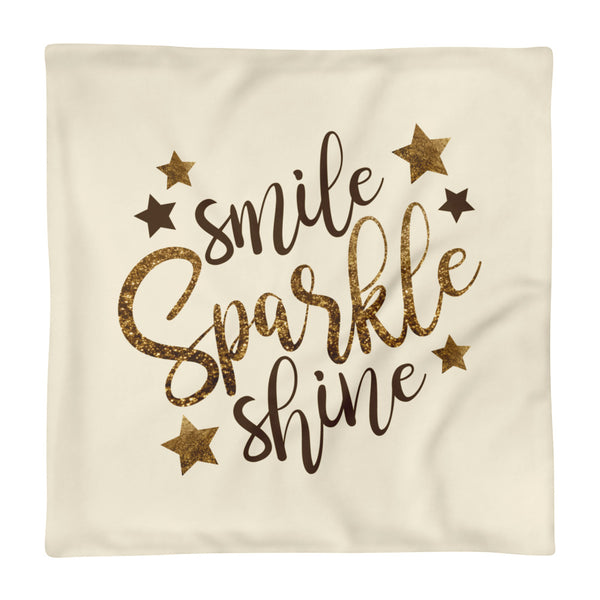 "Smile Sparkle Shine Square Pillow Cover only - Cream (18""x18"")"