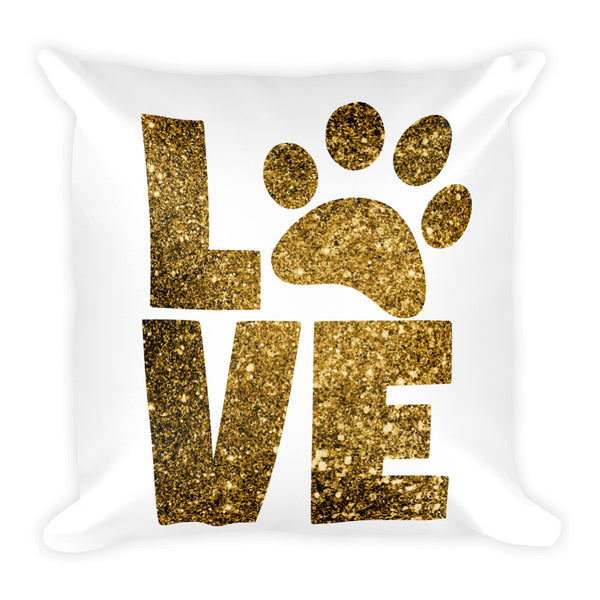 "Love Paw Print Square Throw Pillow (18""x18"")"