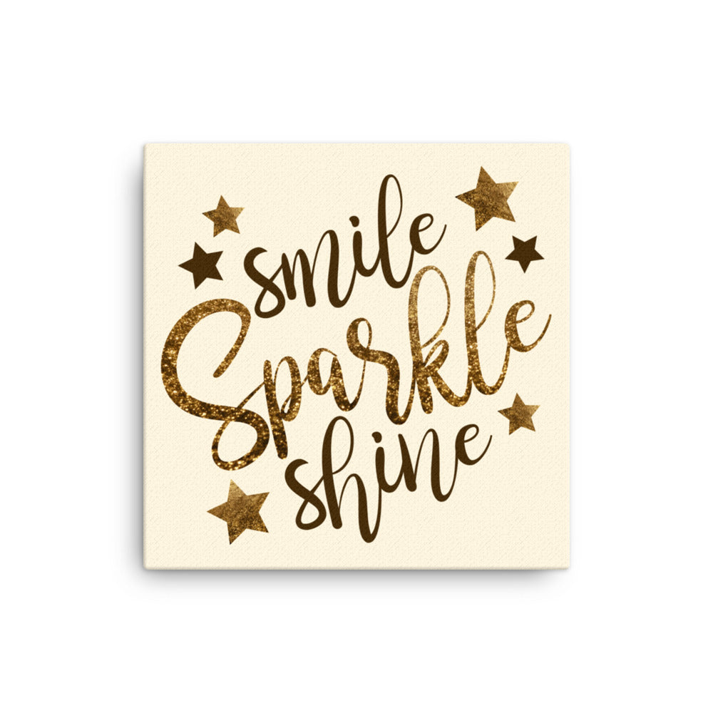 Smile Sparkle Shine Canvas Wall Art - Cream (multiple sizes)