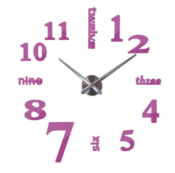 Large 3d Deconstructed Mirror Wall Clock (2 sizes; multiple colors)