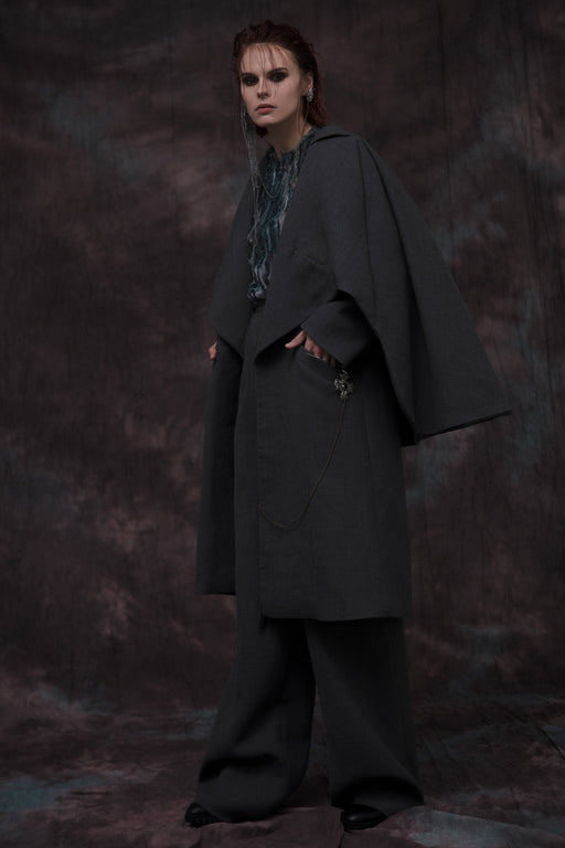 Sculpted Wool Tailored Coat by Amir Al Kasm