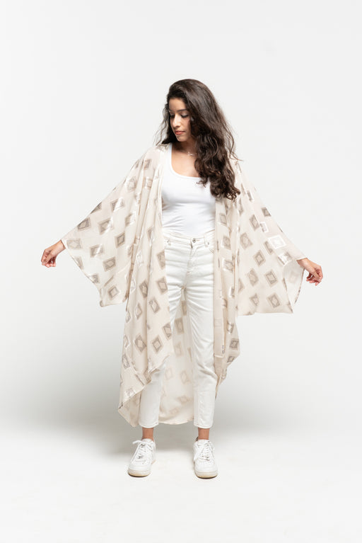 White Asymmetric Drape Cape