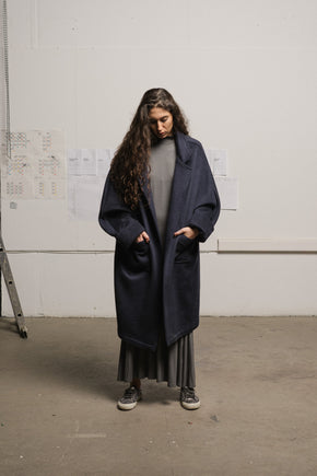 Navy heavy cashmere coat