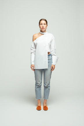 The Off the Shoulder Asymmetric shirt