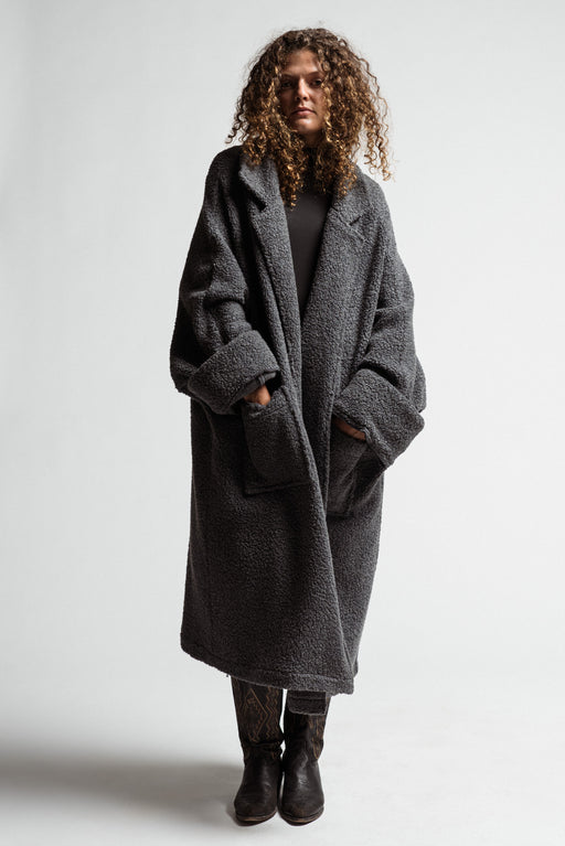 Grey Fluffy Wool Coat