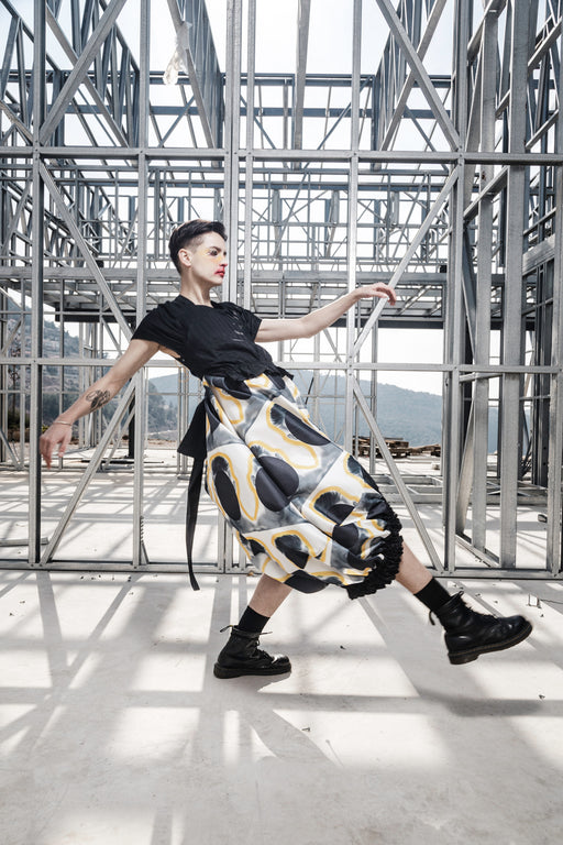 Invisible Face Print Gathered Dress with Taffeta Top by Ahmad Abdullatif