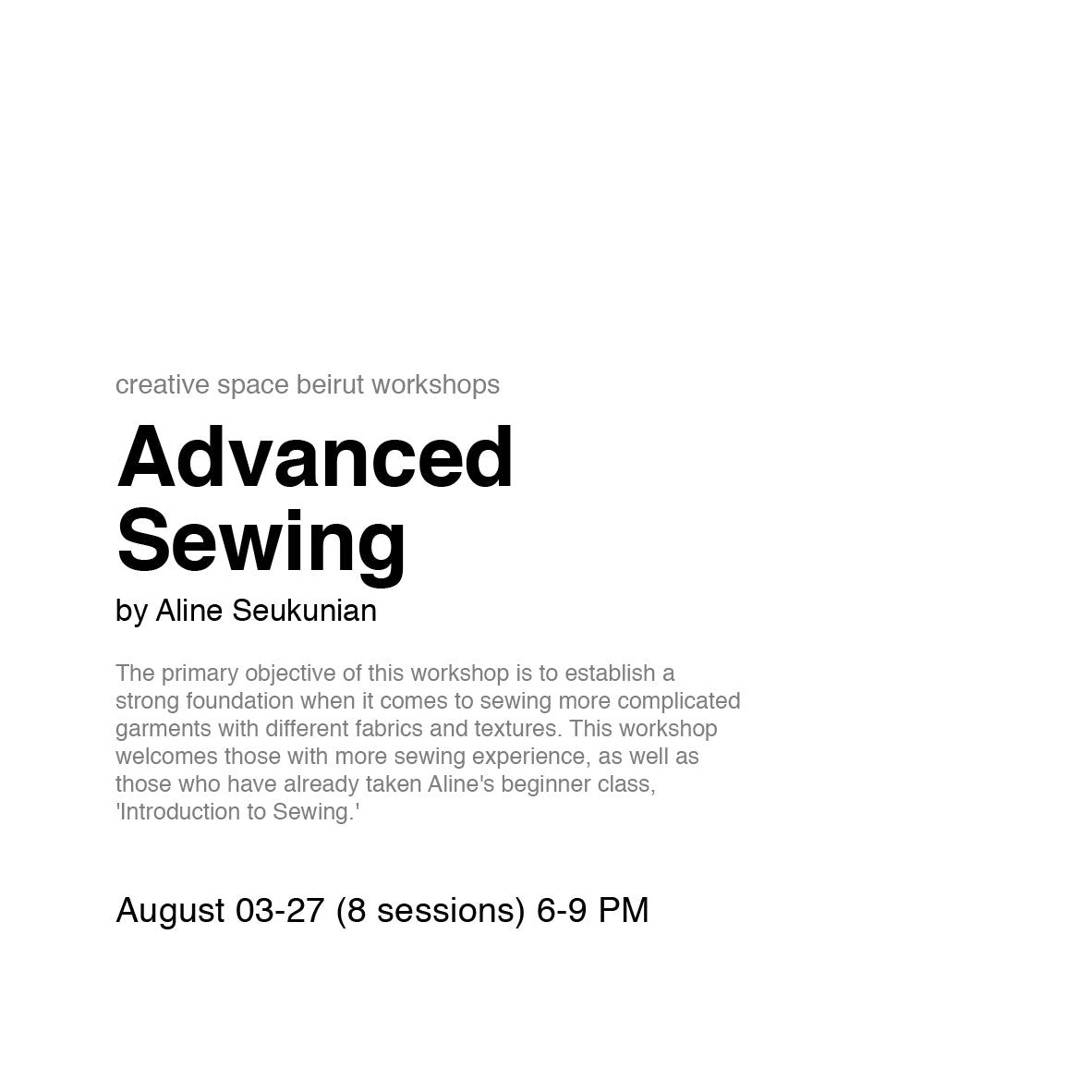 Advanced Sewing by Aline Seukunian