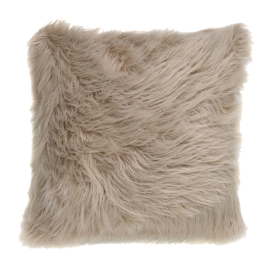 Caballo Taupe Faux Fur Throw Pillow