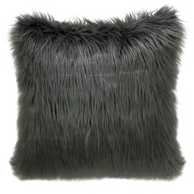 Caballo Grey Faux Fur Throw Pillow